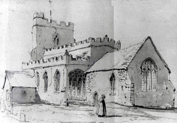 Totternhoe church from the south-east in 1812 [Z50-127-113]